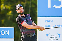 Troy Merritt (USA) watches his tee shot on 15 during the round 1 of the AT&T Byron Nelson, Trinity Forest Golf Club, Dallas, Texas, USA. 5/9/2019.<br /> Picture: Golffile | Ken Murray<br /> <br /> <br /> All photo usage must carry mandatory copyright credit (© Golffile | Ken Murray)