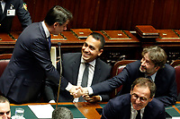 Giuseppe Conte, Luigi Di Maio and Dario Franceschini<br /> Rome September 9th 2019. Lower Chamber. Programmatic speech of the new appointed Italian Premier at the Chamber of Deputies to explain the program of the yellow-red executive. After his speech the Chamber is called to the trust vote at the new Government. <br /> Foto  Samantha Zucchi Insidefoto