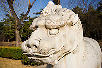 Statue of a standing Xiezi, mythical Chinese Unicorn, on Spirit Way at the Ming Tombs site, Beijing, China