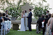 Henry Hager and Jenna Bush exchange vows at the altar Saturday, May 10, 2008, at Prairie Chapel Ranch near Crawford, Texas.  Proceeding over the wedding ceremony is the Rev. Kirbyjohn Caldwell.  .Mandatory Credit: Shealah Craighead / White House via CNP.