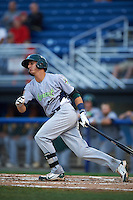 Vermont Lake Monsters outfielder Steven Pallares (14) at bat during the second game of a doubleheader against the Batavia Muckdogs August 11, 2015 at Dwyer Stadium in Batavia, New York.  Batavia defeated Vermont 1-0.  (Mike Janes/Four Seam Images)