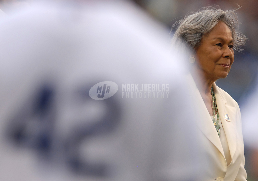 Apr 15, 2007; Los Angeles, CA, USA; Rachel Robinson prior to the game between the Los Angeles Dodgers and the San Diego Padres at Dodger Stadium. Today marked the 60th anniversary of Jackie Robinson becoming the first black player. Mandatory Credit: Mark J. Rebilas