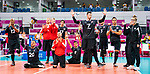 Lima, Peru -  25/August/2019 -  Postgame as Canada takes on Costa Rica in men's sitting volleyball at the Parapan Am Games in Lima, Peru. Photo: Dave Holland/Canadian Paralympic Committee.