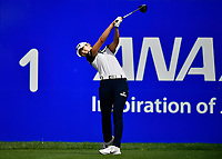 The leader after 2 complete rounds, Sung Hyun Park of area, played her first shot off the 1st tee during the third round of the ANA Inspiration at the Mission Hills Country Club in Palm Desert, California, USA. 3/31/18.<br /> <br /> Picture: Golffile | Bruce Sherwood<br /> <br /> <br /> All photo usage must carry mandatory copyright credit (&copy; Golffile | Bruce Sherwood)during the second round of the ANA Inspiration at the Mission Hills Country Club in Palm Desert, California, USA. 3/31/18.<br /> <br /> Picture: Golffile | Bruce Sherwood<br /> <br /> <br /> All photo usage must carry mandatory copyright credit (&copy; Golffile | Bruce Sherwood)