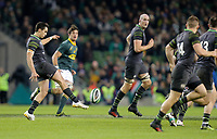 Saturday 11th November 2017; Ireland vs South Africa<br /> Joey Carbery puts in a cross-field kick during the Guinness Autumn Series between Ireland and South Africa at the Aviva Stadium, Lansdowne Road, Dublin, Ireland.  Photo by DICKSONDIGITAL