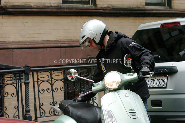 WWW.ACEPIXS.COM....April 24 2006, New York City....**EXCLUSIVE-FEE MUST BE AGREED BEFORE USE**....Actor and husband of Sarah Jessica Parker , Matthew Broderick looked worse for wear as he mounts his Vespa outside his West Village home, and nips away on it.......Byline: ALICE STONE - ACEPIXS.COM....For information please contact:....212 243 8787 or 646 769 0430..Email: picturedesk@acepixs.com..Web: WWW.ACEPIXS.COM