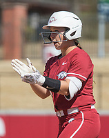 NWA Democrat-Gazette/BEN GOFF @NWABENGOFF<br /> Taylor Greene, Arkansas catcher, reacts at first base after being hit by a pitch in the 6th inning vs South Carolina Sunday, March 17, 2019, at Bogle Park in Fayetteville.