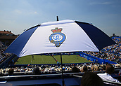 June 19th 2017, Queens Club, West Kensington, London; Aegon Tennis Championships, Day 1; Official Queens Club umbrella cooling down spectators from the top stand at Centre Court