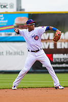 Iowa Cubs shortstop Addison Russell (3) makes a throw to first base during a Pacific Coast League game against the San Antonio Missions on May 2, 2019 at Principal Park in Des Moines, Iowa. Iowa defeated San Antonio 8-6. (Brad Krause/Four Seam Images)