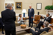 United States President Barack Obama and Vice President Joe Biden meet the Democratic leadership in the Oval Office to discuss ongoing efforts to find a balanced approach to the debt limit and deficit reduction, July 21, 2011. Pictured, from left, are: U.S. Senate Majority Whip Dick Durbin (Democrat of Illinois), U.S. House Minority Leader Nancy Pelosi Democrat of California), and U.S. Senate Majority Leader Harry Reid (Democrat of Nevada). .Mandatory Credit: Pete Souza - White House via CNP