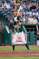 Brian Schales (43) of the Greensboro Grasshoppers at bat against the Greenville Drive at NewBridge Bank Park on August 17, 2015 in Greensboro, North Carolina.  The Drive defeated the Grasshoppers 5-4 in 13 innings.  (Brian Westerholt/Four Seam Images)