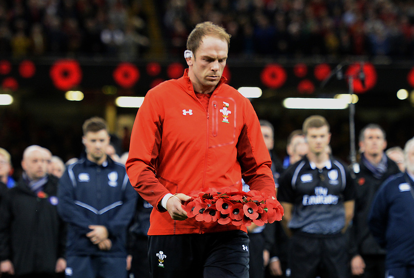 Wales' Alun Wyn Jones lays a poppy wreath prior to kick off<br /> <br /> Photographer Ian Cook/CameraSport<br /> <br /> Under Armour Series Autumn Internationals - Wales v Australia - Saturday 10th November 2018 - Principality Stadium - Cardiff<br /> <br /> World Copyright © 2018 CameraSport. All rights reserved. 43 Linden Ave. Countesthorpe. Leicester. England. LE8 5PG - Tel: +44 (0) 116 277 4147 - admin@camerasport.com - www.camerasport.com