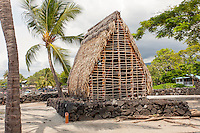 Model of a thatched hut temple (heiau) in Pu'uhonua o Honaunau National Historical Park, Big Island.