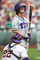 TCU Horned Frogs outfielder Cody Jones (1) at bat against the LSU Tigers in the NCAA College World Series on June 14, 2015 at TD Ameritrade Park in Omaha, Nebraska. TCU defeated LSU 10-3. (Andrew Woolley/Four Seam Images)