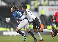 Blackburn Rovers Danny Graham in action with Derby County's Curtis Davies<br /> <br /> Photographer Mick Walker/CameraSport<br /> <br /> The EFL Sky Bet Championship - Derby County v Blackburn Rovers - Sunday 8th March 2020  - Pride Park - Derby<br /> <br /> World Copyright © 2020 CameraSport. All rights reserved. 43 Linden Ave. Countesthorpe. Leicester. England. LE8 5PG - Tel: +44 (0) 116 277 4147 - admin@camerasport.com - www.camerasport.com