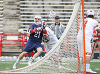 College Park, MD - May 13, 2018: Robert Morris Colonials Adrian Torok-Orban (21) makes a pass during the NCAA first round game between Robert Morris and Maryland at  Capital One Field at Maryland Stadium in College Park, MD.  (Photo by Elliott Brown/Media Images International)