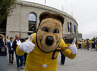 CAL mascot Oski gives two thumbs up in front of Memorial Stadium before CAL plays against Nevada at Memorial Stadium in Berkeley, California on September 1st, 2012.  Nevada Wolf Pack defeated California, 31-24.