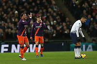 Kyle Walker of Manchester City questions how many fouls he has had on him during Tottenham Hotspur vs Manchester City, Premier League Football at Wembley Stadium on 29th October 2018