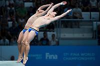 GER HAUSDING Patrick KLEIN Sascha bronze medal<br /> Diving<br /> Men's 10m synchronised platform final<br /> 13/07/2017 <br /> XVII FINA World Championships Aquatics<br /> Duna Arena<br /> Photo @ Giorgio Perottino/Deepbluemedia/Insidefoto