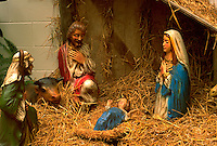 Ornamental crèche scene. St Paul Minnesota USA