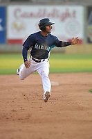Clinton LumberKings right fielder Anthony Jimenez (5) runs to third base during a game against the Lansing Lugnuts at Ashford University Field on May 8, 2017 in Clinton, Iowa.  The Lugnuts won 4-3.  (Dennis Hubbard/Four Seam Images)