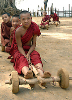 Novice Monks On A Go Kart Shan State Burma Myanmar Andrew Law