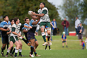 N. Vea goes high to claim the ball under pressure from K. Maka. CMRFU Premier Club Rugby round 4 game between Manurewa & Weymouth played at Manurewa on the 5th of May 2007. Manurewa led 24 - 0 at halftime and went on to win 43 - 7.