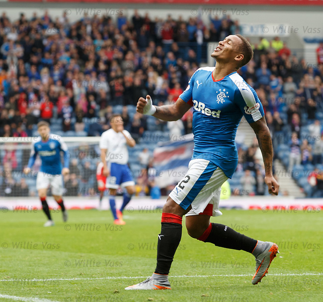 James Tavernier celebrates after scoring for Rangers