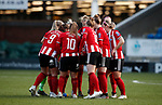 Team huddle during the The FA Women's Championship match at the Proact Stadium, Chesterfield. Picture date: 8th December 2019. Picture credit should read: Simon Bellis/Sportimage
