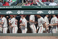 NWA Democrat-Gazette/CHARLIE KAIJO Arkansas Razorbacks players react during a baseball game, Sunday, March 17, 2019 at Baum-Walker Stadium in Fayetteville.