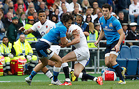 Rugby, Torneo delle Sei Nazioni: Italia vs Inghilterra. Roma, 14 febbraio 2016.<br /> Italy&rsquo;s Michele Campagnaro, second from left, is challenged by England&rsquo;s Anthony Watson, left, and Owen Farrell, during the Six Nations rugby union international match between Italy and England at Rome's Olympic stadium, 14 February 2016.<br /> UPDATE IMAGES PRESS/Riccardo De Luca