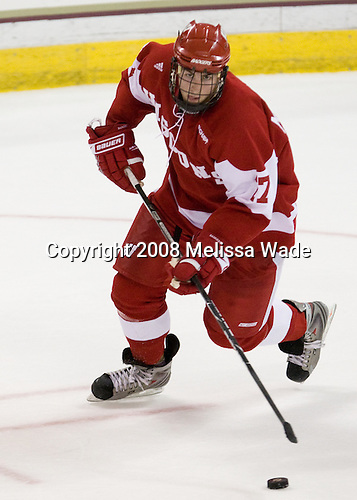 Ryan McDonagh (Wisconsin - 17) - The Boston College Eagles defeated the University of Wisconsin Badgers 5-4 on Friday, October 10, 2008 after raising their 2008 National Championship banner at Kelley Rink in Conte Forum in Chestnut Hill, Massachusetts.