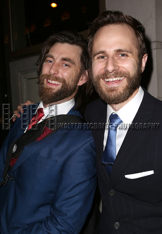 Jethro Skinner and Matt Harrington greet fans at the stage door after the Broadway Opening Night Performance of 'Twelfth Night' at the Belasco Theatre on November 10, 2013 in New York City.