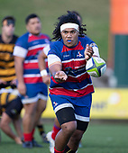 Zuriel Tongiatama passes wide during the Counties Manukau Premier 1 McNamara Cup Final between Ardmore Marist and Bombay, played at Navigation Homes Stadium on Saturday July 20th 2019.<br />  Bombay won the McNamara Cup for the 5th time in 6 years, 33 - 18 after leading 14 - 10 at halftime.<br /> Photo by Richard Spranger.