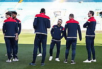 Bolton Wanderers' players inspecting the pitch before kick off <br /> <br /> Photographer Andrew Kearns/CameraSport<br /> <br /> The EFL Sky Bet Championship - Leeds United v Bolton Wanderers - Saturday 23rd February 2019 - Elland Road - Leeds<br /> <br /> World Copyright © 2019 CameraSport. All rights reserved. 43 Linden Ave. Countesthorpe. Leicester. England. LE8 5PG - Tel: +44 (0) 116 277 4147 - admin@camerasport.com - www.camerasport.com