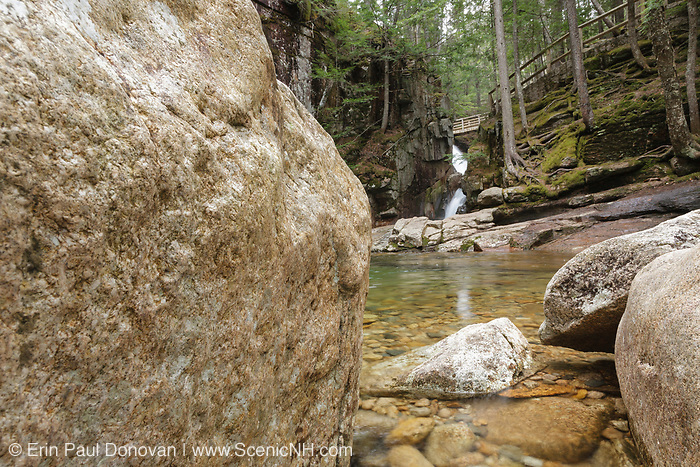 The Lower Pool at Sabbaday Falls in Waterville Valley, New Hampshire USA during the spring months. These falls are located on Sabbaday Brook off of the Kancamagus Highway in the White Mountains.