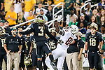 Baylor Bears cornerback Tion Wright (3) and Oklahoma State Cowboys wide receiver Jhajuan Seales (81) in action during the game between the Oklahoma State Cowboys and the Baylor Bears at the McLane Stadium in Waco, Texas.