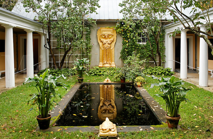 Garden courtyard, New Gallery atrium, Saint-Gaudens National Historic Site, Cornish, Sullivan County, New Hampshire, US