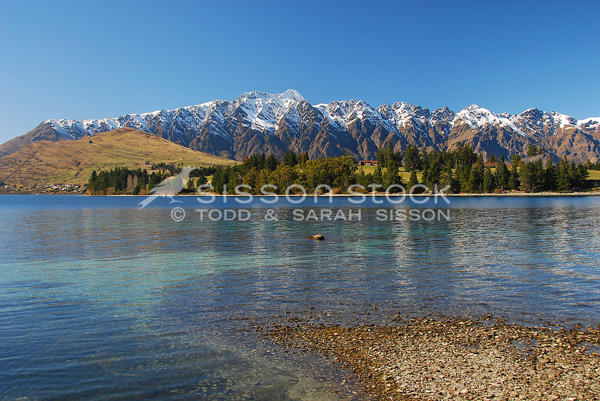 Looking across to Kelvin Heights and the Remarkables from Queenstown Gardens, South Island, New Zealand
