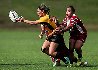 Sarina Fiso Clark of Manurewa offloads in the tackle of Atawhai Tupaea and Ngatokotoru Arakua of Papakura (R). Premier Women's Rugby League, Papakura Sisters v Manurewa Wahine, Prince Edward Park, Auckland, Sunday 13th August 2017. Photo: Simon Watts / www.phototek.nz