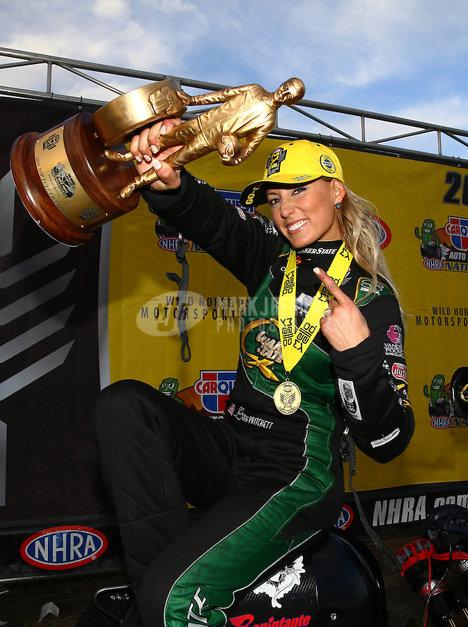 Feb 28, 2016; Chandler, AZ, USA; NHRA top fuel driver Leah Pritchett celebrates after winning the Carquest Nationals at Wild Horse Pass Motorsports Park. Mandatory Credit: Mark J. Rebilas-USA TODAY Sports