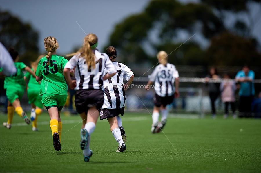 MELBOURNE, AUSTRALIA - Dec 12: Round 8 of the Victorian Champions League between Northeast and Northern U17 Girls at Darebin on 12 December 2010, Australia. (Photo Sydney Low / asteriskimages.com)