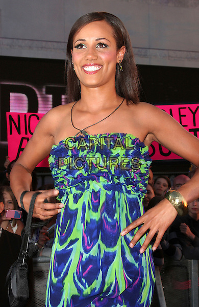 NOIRIN KELLY .Big Brother Series 10 Launch Night at Elstree Studios, Borehamwood, Herts, England, UK, June 4th 2009.half length new housemates housemate strapless blue purple green print dress .CAP/ROS.©Steve Ross/Capital Pictures