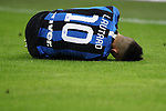 Lautaro Martinez of Inter lays injured on the turf during the Coppa Italia match at Giuseppe Meazza, Milan. Picture date: 12th February 2020. Picture credit should read: Jonathan Moscrop/Sportimage
