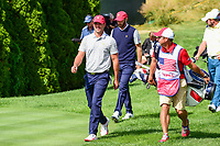 Brooks Koepka (USA) and Dustin Johnson (USA) depart the 4th tee during round 3 Four-Ball of the 2017 President's Cup, Liberty National Golf Club, Jersey City, New Jersey, USA. 9/30/2017.<br /> Picture: Golffile | Ken Murray<br /> <br /> All photo usage must carry mandatory copyright credit (&copy; Golffile | Ken Murray)