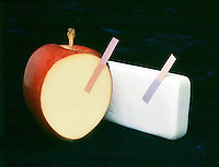 pH TEST PAPER: LITMUS -ACID & BASE.Testing an Apple & a Bar of Soap..The acidic apple turns blue litmus to red.  The basic bar of soap turns red litmus to blue.