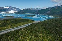 Summer landscape aerial photo of icebergs at Bear Glacier and Bear Glacier Lagoon in Kenai Fjords National Park.  Kenai Penninsula, Summer, Alaska   <br /> <br /> Photo by Jeff Schultz/  (C) 2019  ALL RIGHTS RESERVED