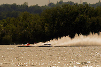 "2st lap of the final: Marty Wolfe, GP-93 ""Renegade"", Tom Pakradooni, GP-88, Grand Prix class hydroplane(s).Syracuse Hydrofest, Onondaga Lake, Syracuse, NY.20/21 June, 2009, Dayton, OH USA..©F. Peirce Williams 2009 USA.F.Peirce Williams.photography.ref: RAW (.NEF) File Available"