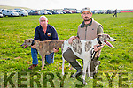 l-r Denis Curtin, Listowel with Follow Your Dreams and John Maher, Lixnaw with Blackpool Kyle at the Ballyheigue Coursing on Sunday