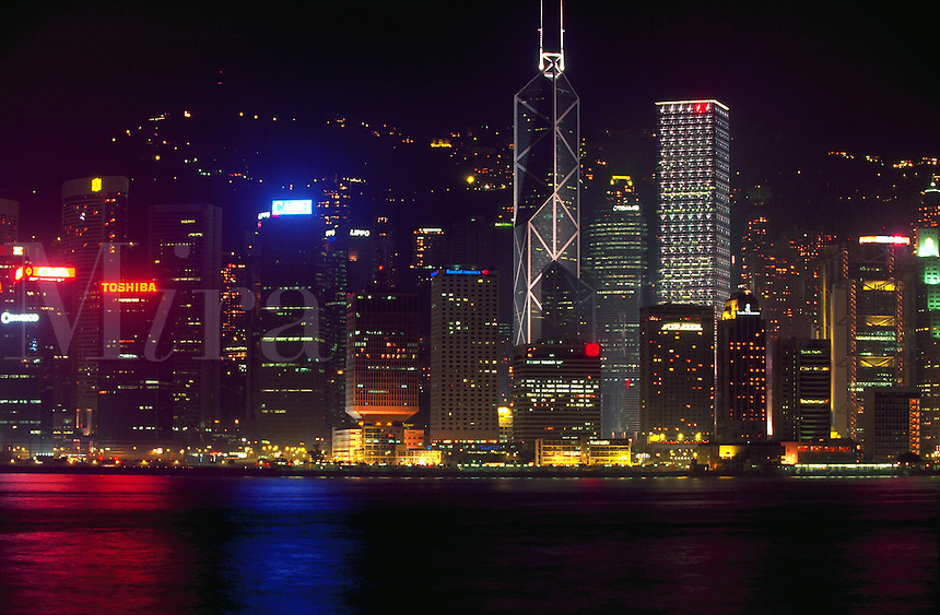 Looking across Victoria Harbor at Hong Kong, night